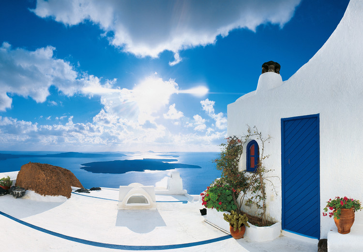 SANTORINI SUNSET - george meis Wall Mural