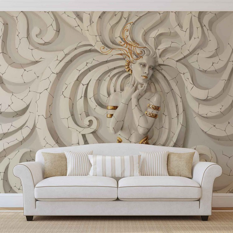 Sculpture Yoga Woman Swirls Medussa Wallpaper Mural