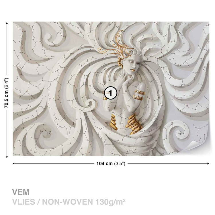 Sculpture Yoga Woman Swirls Medussa Wallpaper Mural