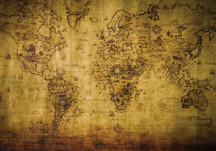 Sepia world map vintage wall paper mural buy at europosters for Antique wallpaper mural