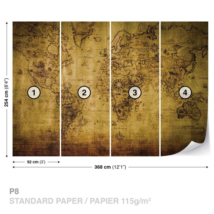 Sepia World Map Vintage Wallpaper Mural