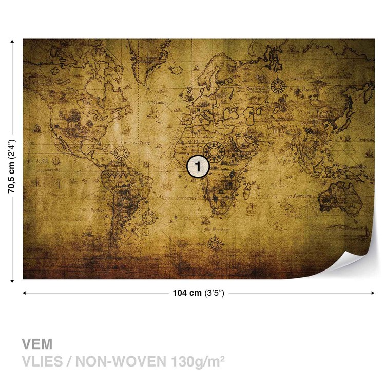 Sepia World Map Vintage Wall Paper Mural | Buy at EuroPosters