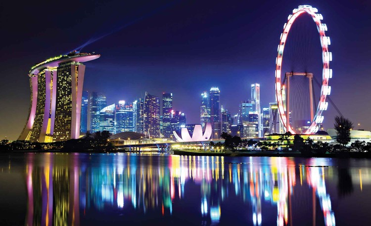 Singapore City Skyline Wallpaper Mural
