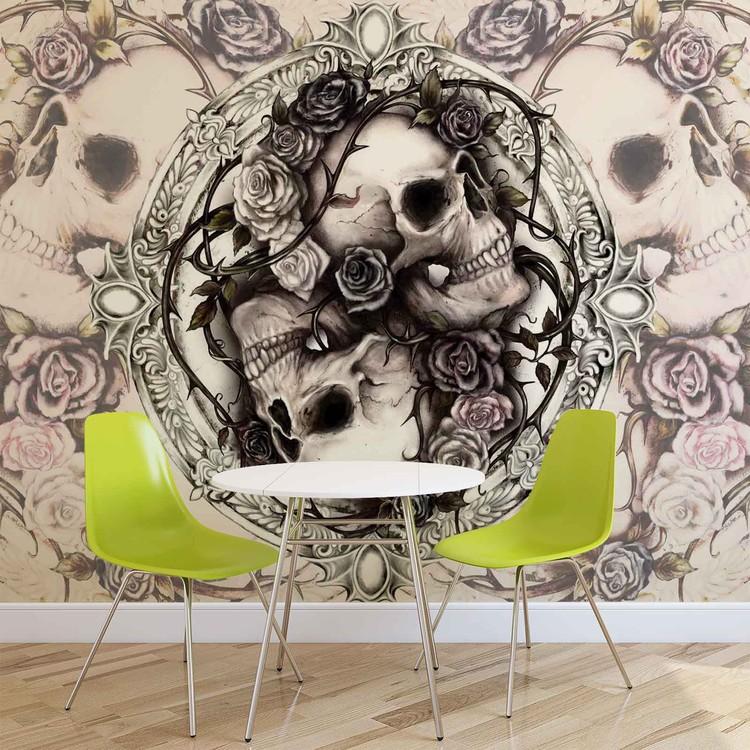Skull Alchemy Roses Wallpaper Mural