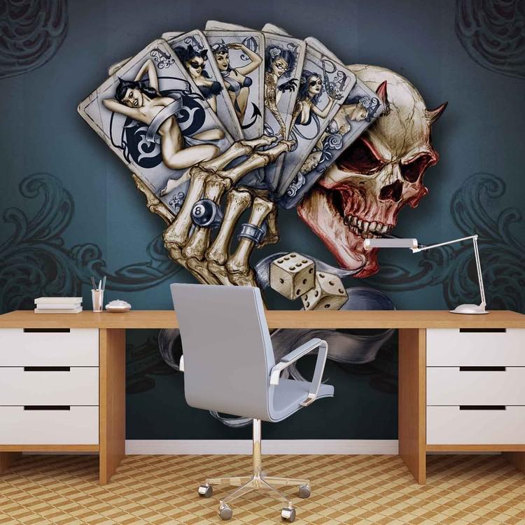 Skull Dice Cards Wallpaper Mural
