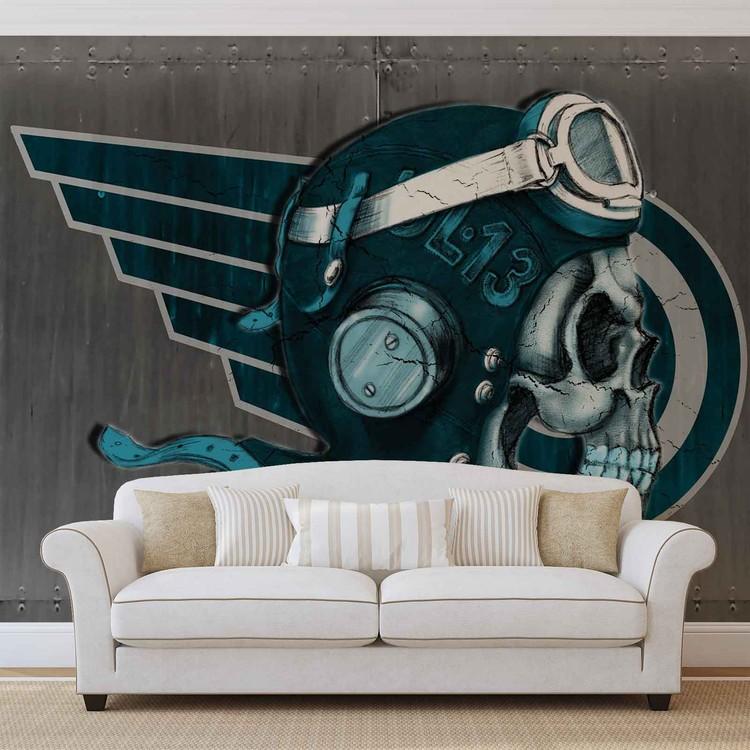Skull Flying Tattoo Wallpaper Mural