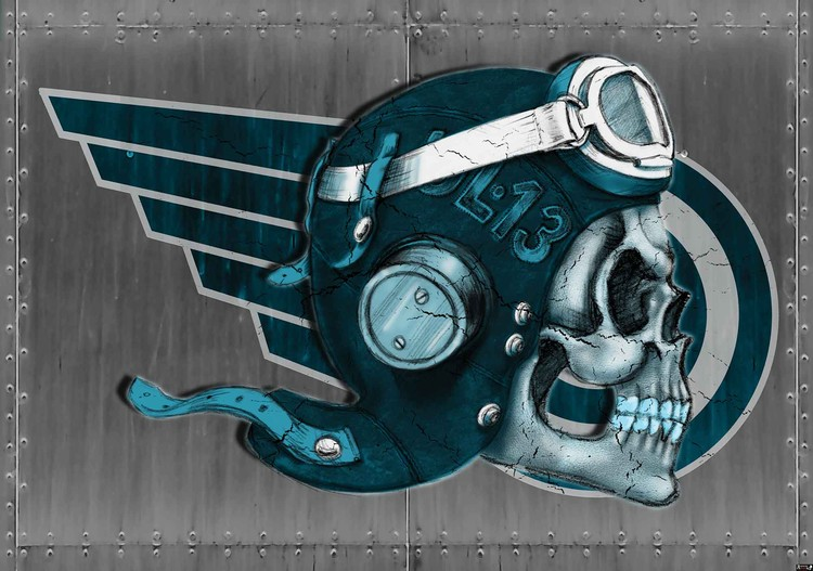 Skull Flying Tattoo Wallpaper Mural