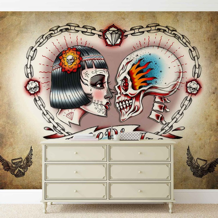 Skull Heart Tattoo Wallpaper Mural