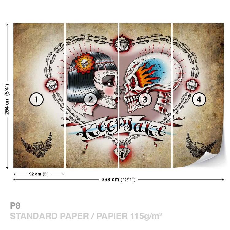 Skull Heart Tattoo Wallpaper Mural