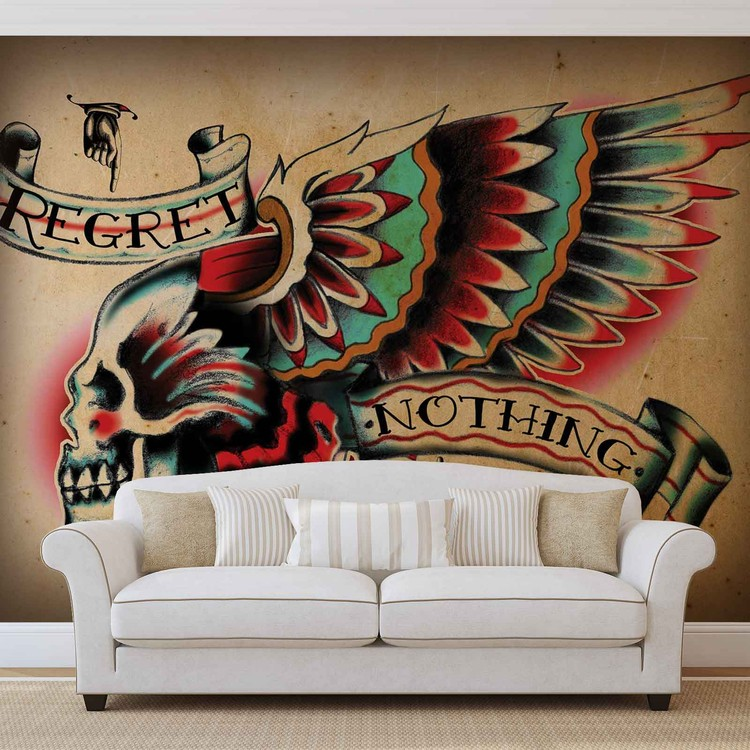 Skull Tattoo Wing Wallpaper Mural
