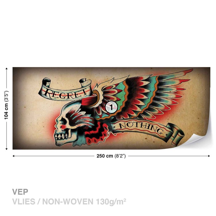 Skull Tattoo Wing Wallpaper Mural
