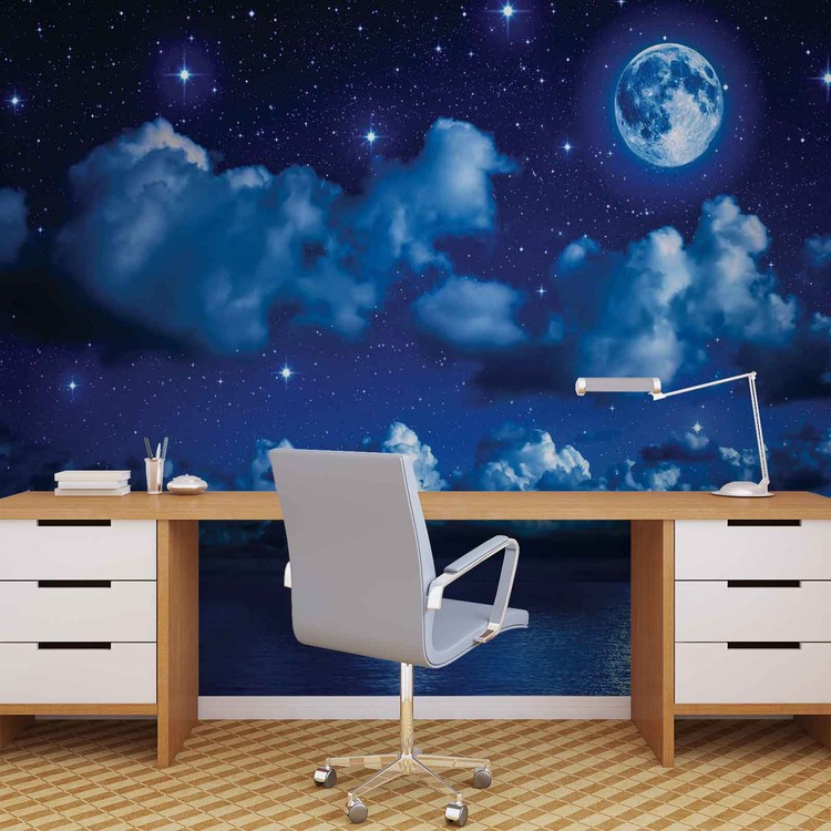 Sky Moon Clouds Stars Night Sea Wallpaper Mural