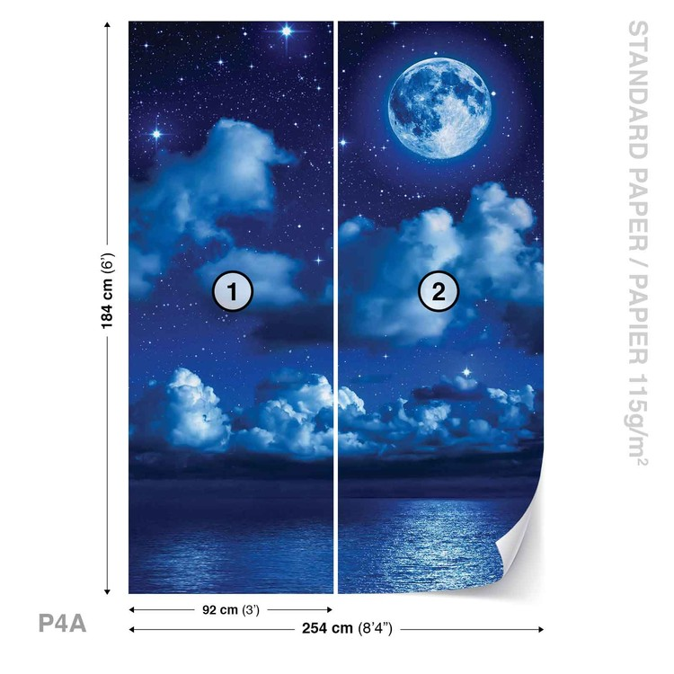 3d Wallpaper Mural Night Clouds Star Sky Wall Paper: Sky Moon Clouds Stars Night Sea Wall Paper Mural