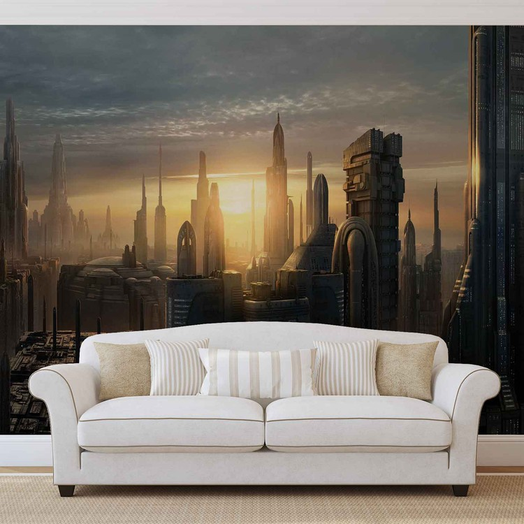 Star Wars City Coruscant Wall Paper Mural Buy At Europosters