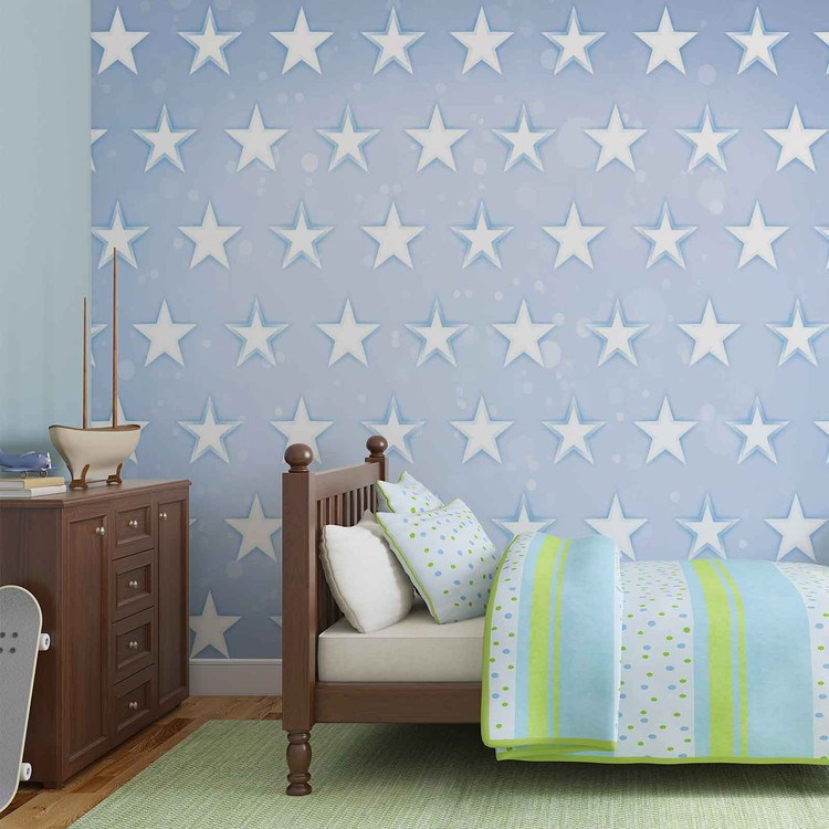 Stars Pattern Blue Wallpaper Mural