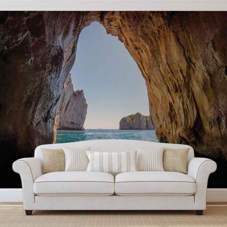 Stone Cave Tunnel Sea Wallpaper Mural