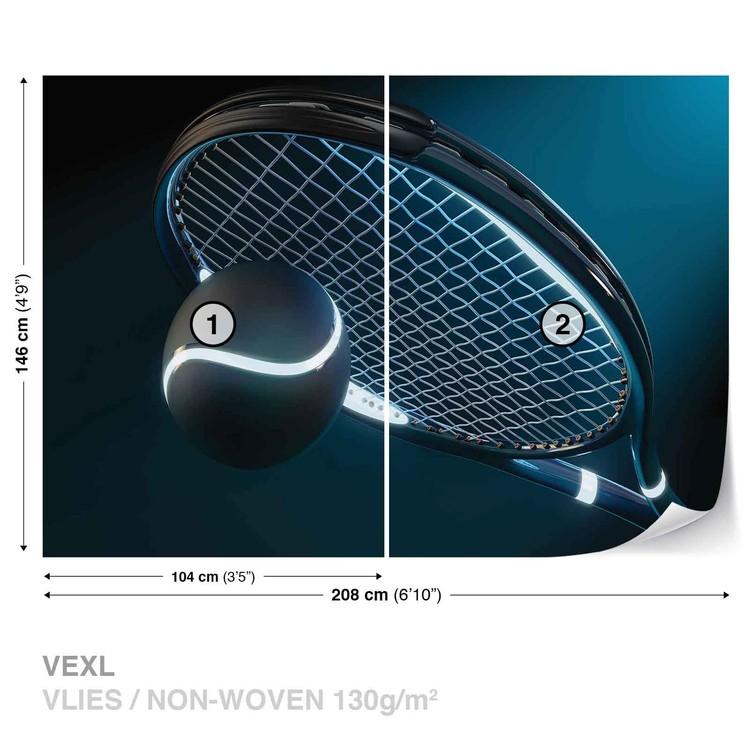 Tennis Racket Ball Neon Wallpaper Mural