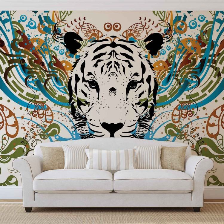 Tiger Abstract Wallpaper Mural