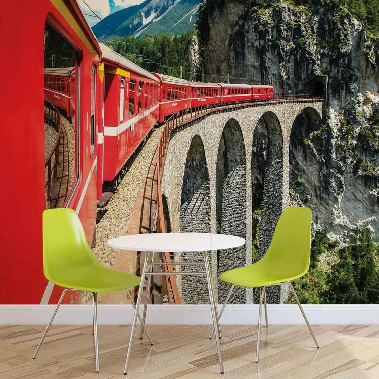 Train Through The Mountains Wallpaper Mural