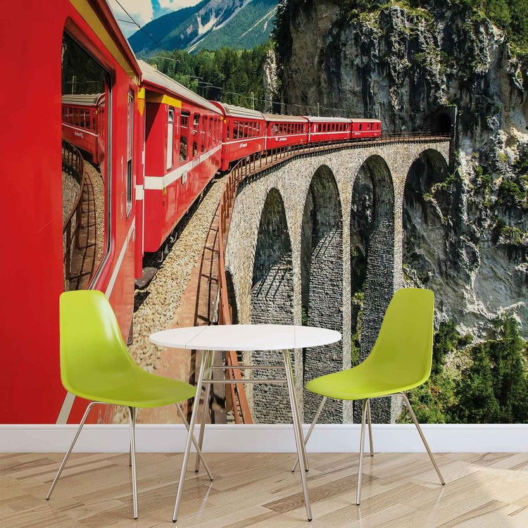 Train Through The Mountains Wallpaper Mural