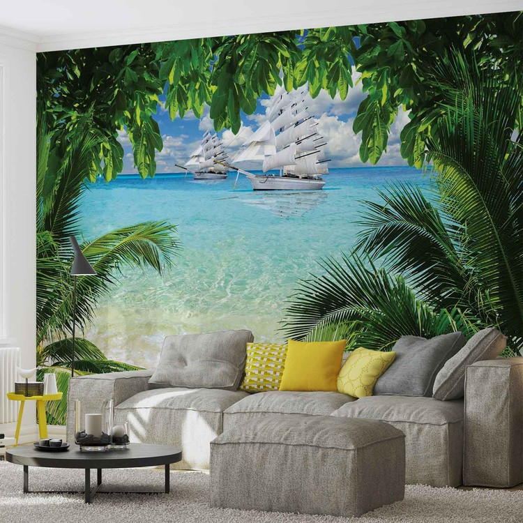 Tropical Beach Island Wallpaper Mural