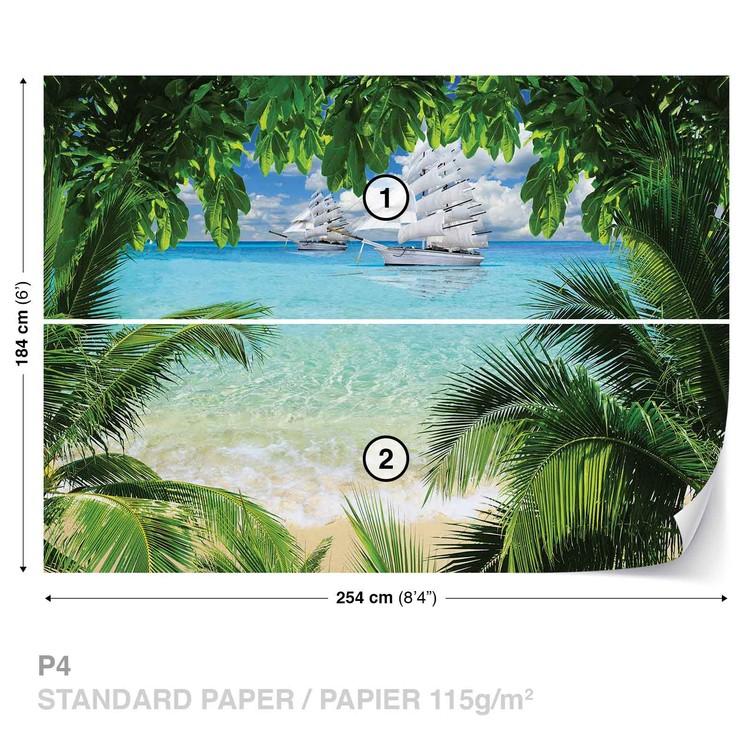 Tropical Beach Island Wallpaper Mural