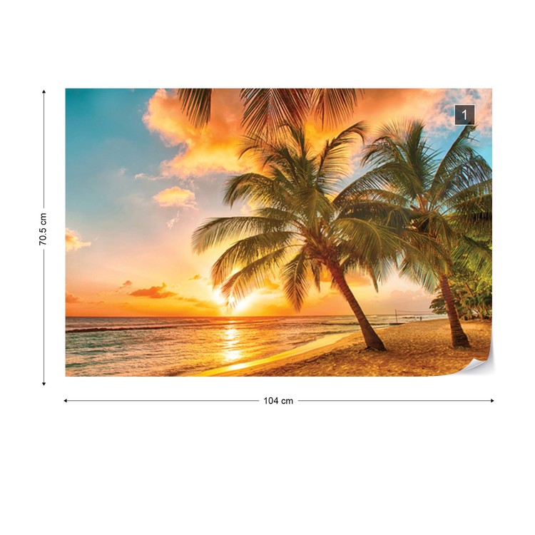 Big Wallpaper for bedroom or living room walls Sunrise Palm on the beach orange