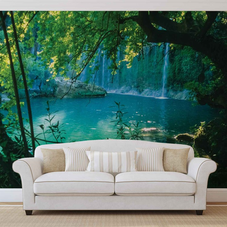 Tropical Waterfall Lagoon Forest Wallpaper Mural