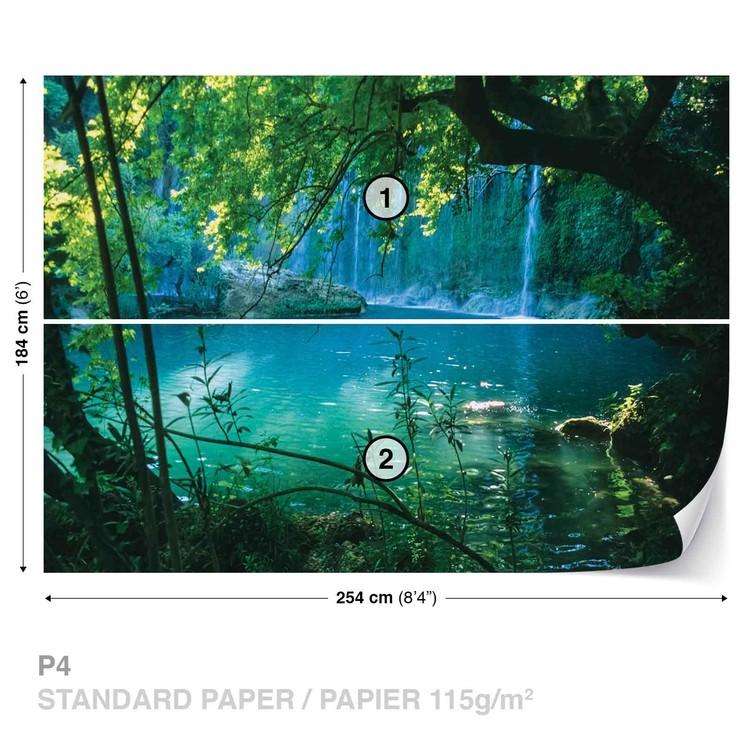 Tropical Waterfall Lagoon Forest Wallpaper Mural