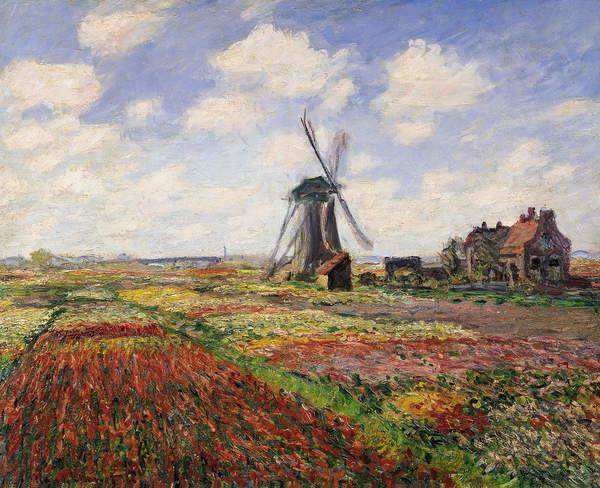 Wallpaper Mural Tulip Fields with the Rijnsburg Windmill, 1886