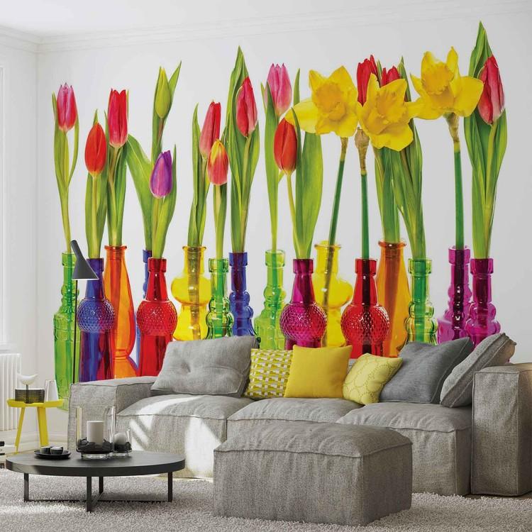 Tulips in Bottles Wallpaper Mural