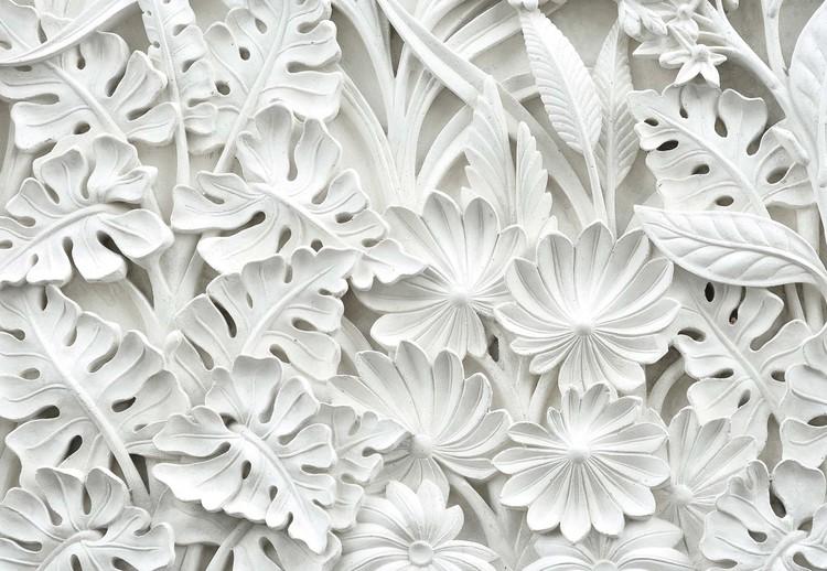 Vintage 3D Carved Flowers White Wallpaper Mural
