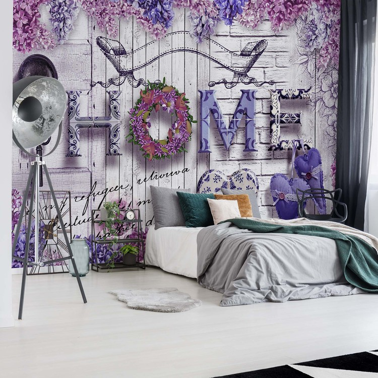 Vintage Chic Home Flowers And Wood Texture Wallpaper Mural