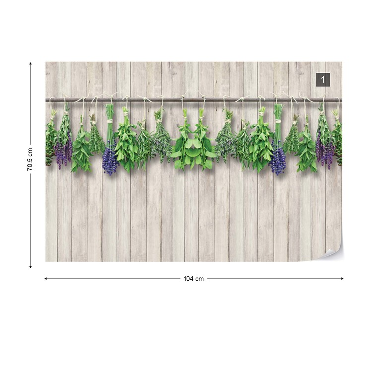 Vintage Chic Wood Planks And Herbs Wallpaper Mural