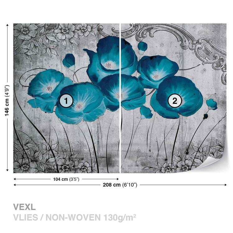 Vintage Flowers Blue Grey Wallpaper Mural