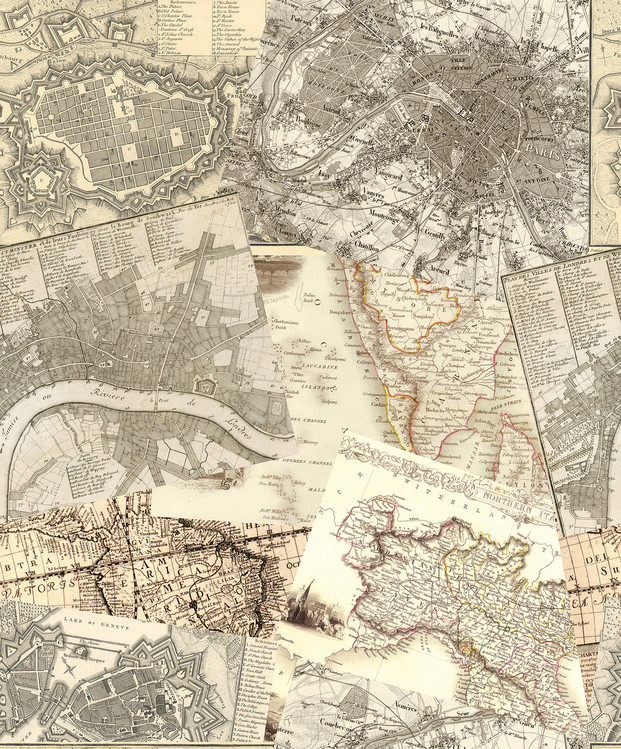 Vintage Maps Wallpaper Mural