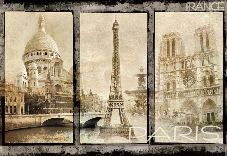 Vintage Paris Tryptich Wallpaper Mural