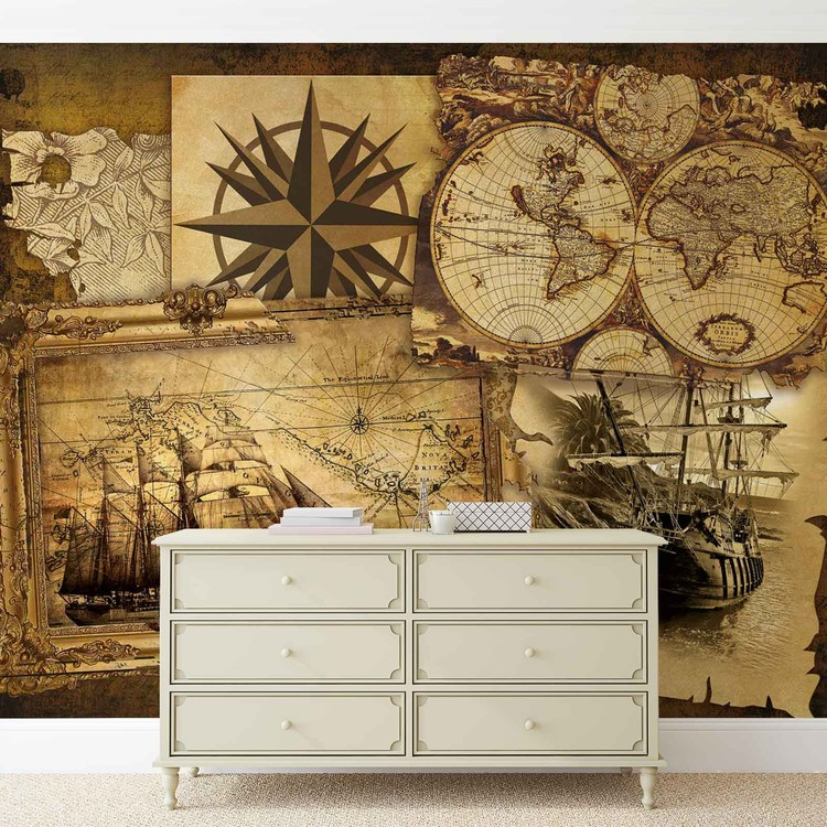 Vintage Ships And Maps Wallpaper Mural