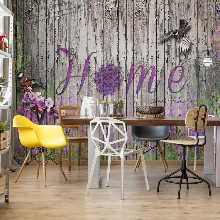 Vintage Wood Planks Design Lavender Home Wallpaper Mural