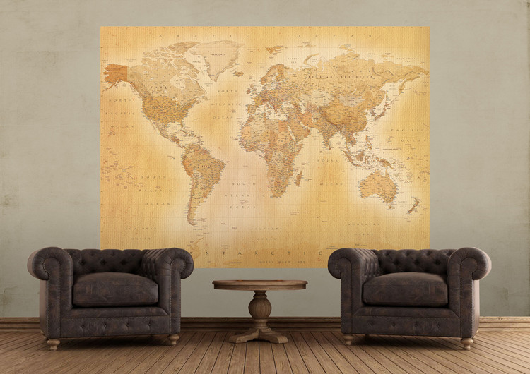 Vintage world map wall mural buy at europosters vintage world map wallpaper mural vintage world map wallpaper mural gumiabroncs Image collections