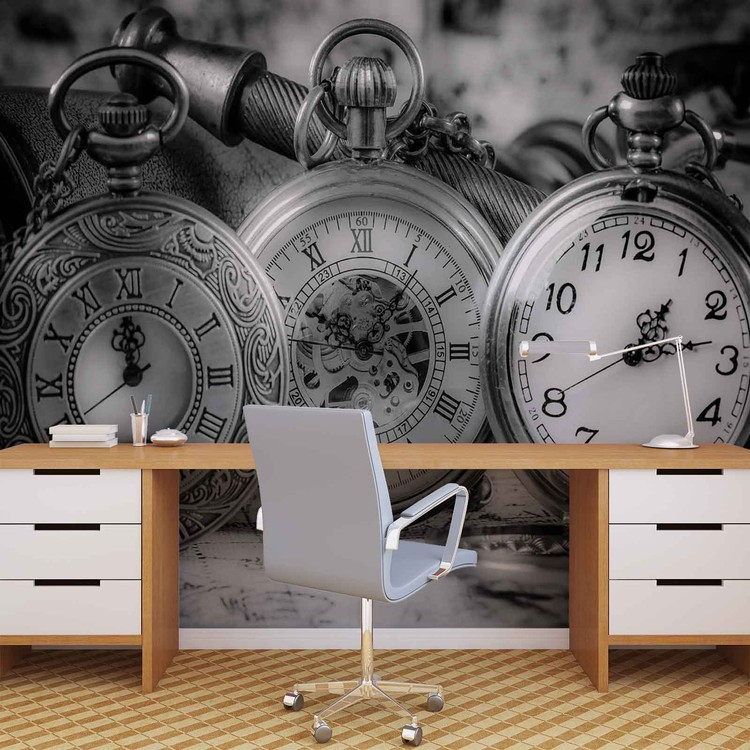 Watches Clocks Black White Wallpaper Mural