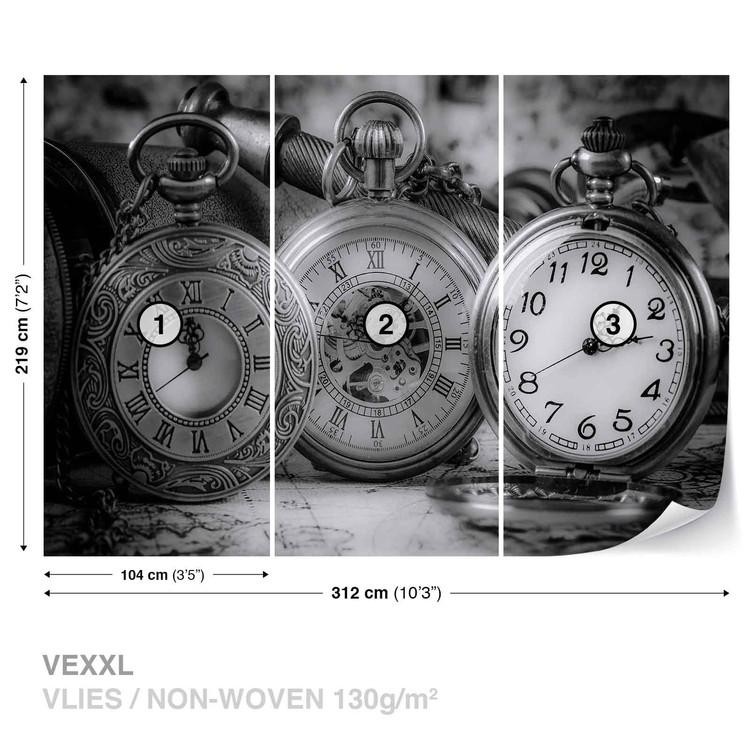 Watches Clocks Black White Wallpaper Mural