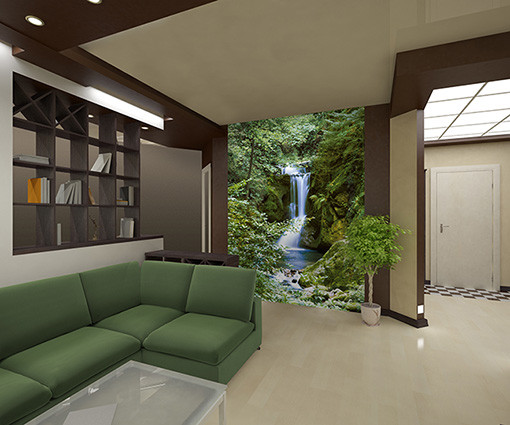 WATERFALL IN SPRING Wallpaper Mural