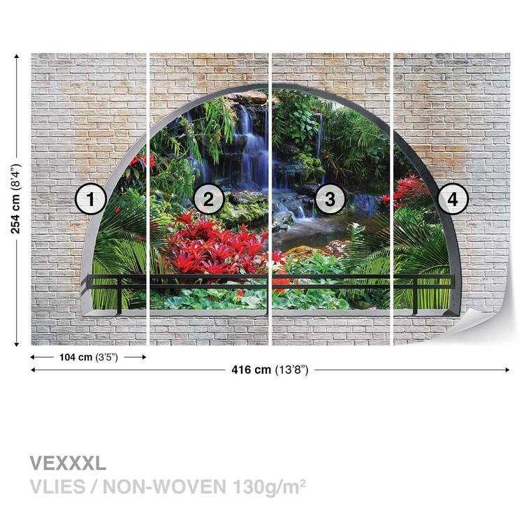 Waterfall Lake Arch View Wallpaper Mural
