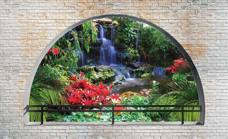 Waterfall Lake Arch View Wallpaper Mural
