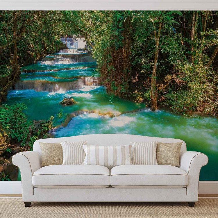 Waterfalls Trees Forest Nature Wallpaper Mural