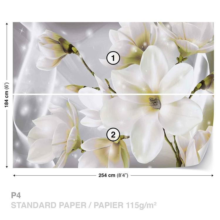 White Flowers Wallpaper Mural