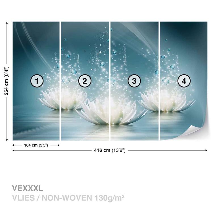 White Lotus Flowers Drops Wallpaper Mural