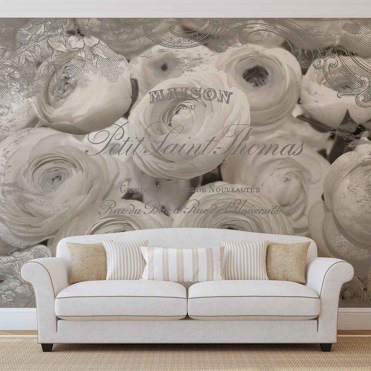 White Roses Vintage Effect Wallpaper Mural