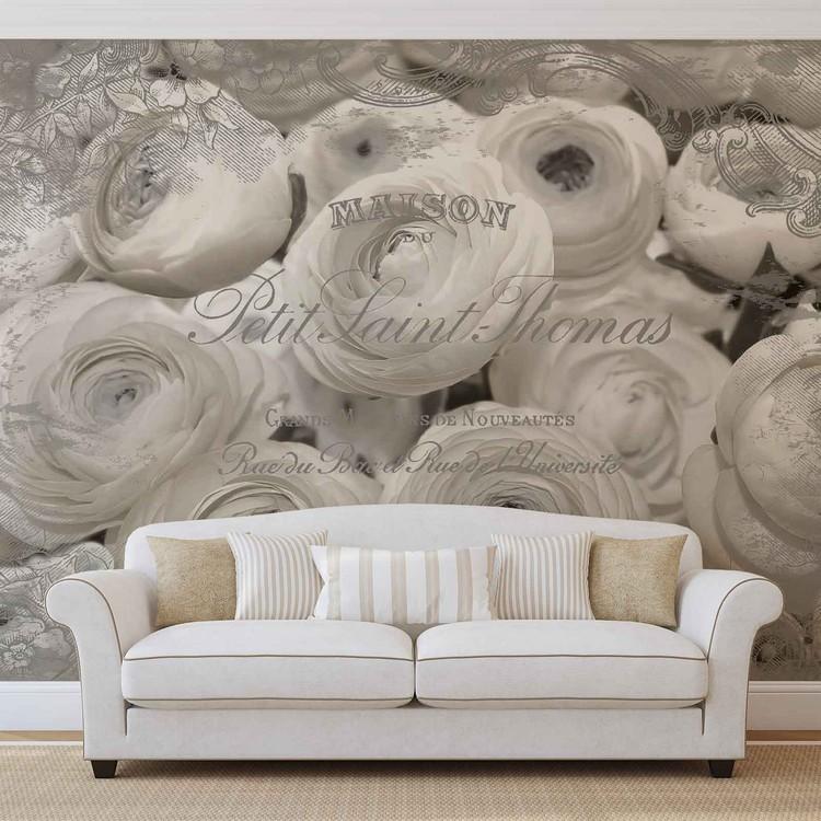 White Roses Vintage Effect Wallpaper Mural